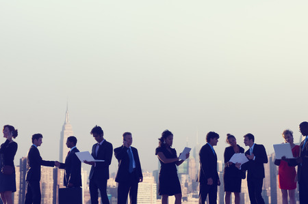 Business People New York Outdoor Meeting Concept photo