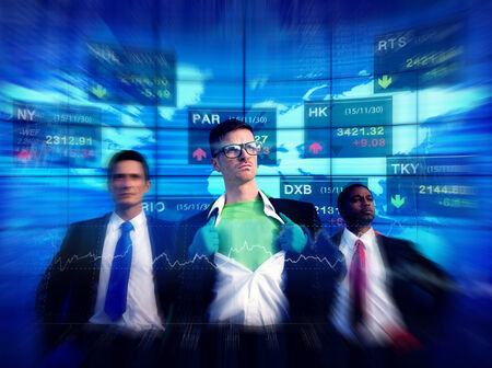 job market: Business People Stock Market Superhero Concepts Stock Photo