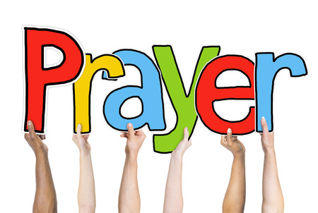 Prayer Word Concepts Isolated on Background Stock Photo