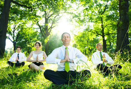 Business people meditating in the woods. photo