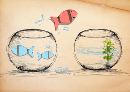 Fish Ontsnappen naar New Fishbowl Stockfoto - 34575960
