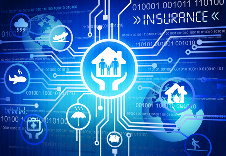 Digitally Generated Image of Insurance Concept Foto de archivo