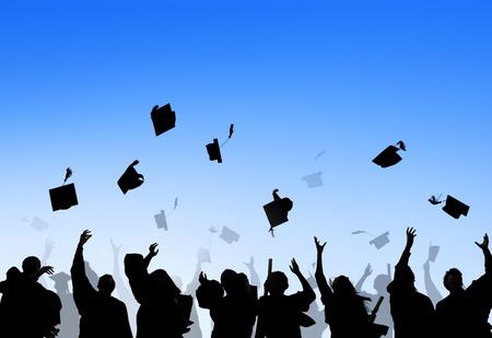 Estudiantes Internacionales diversos que celebran la graduación