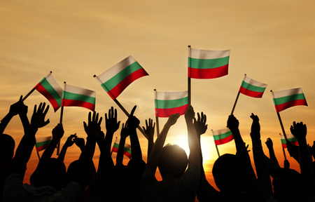bulgarian ethnicity: Silhouettes of People Holding Flag of Bulgaria