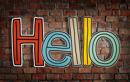 good evening: Word Hello on Brick Wall Background