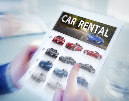 rental: Digital Online Search Car Rental Concept