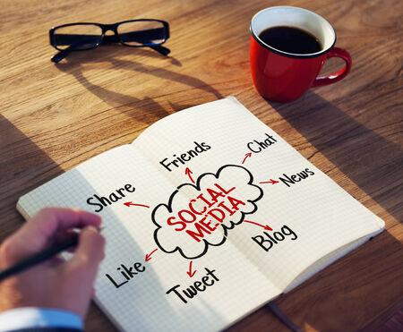 planeaci�n: Escritura del hombre y Planificaci�n de Medios Sociales Conceptos Foto de archivo