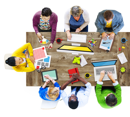 People Working in a Conference and Photo Illustration illustration