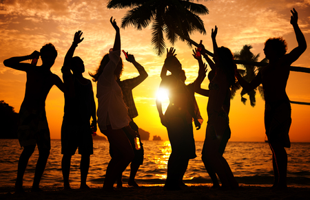 Silhouettes of People Partying Outdoors