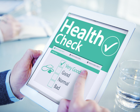 men health: Digital Health Check Healthcare Concept