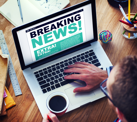 news current events: Man Breaking News Top Story Internet Connection Concept