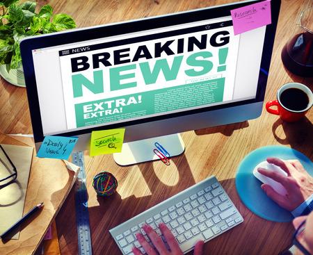 Digital Online Breaking News Headline Concept Stock Photo - 34406855