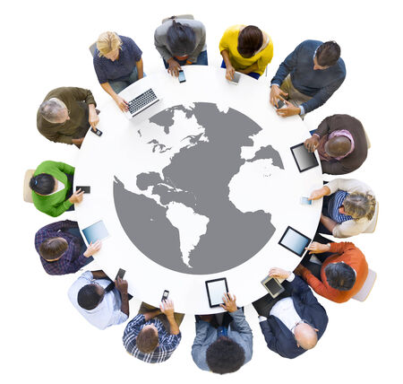 individualist: Multi-Ethnic Business People Meeting with Digital Device Stock Photo