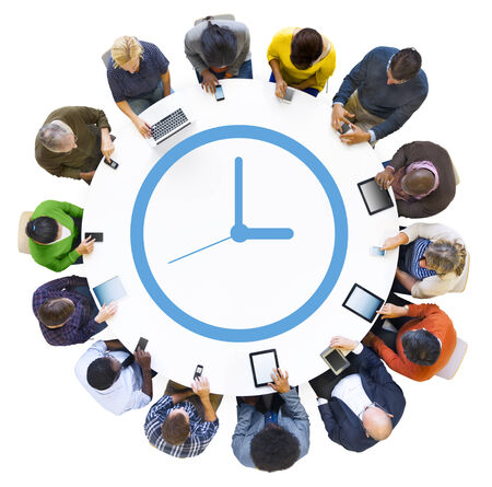 lady clock: Diverse People Using Digital Devices with Clock Symbol Stock Photo