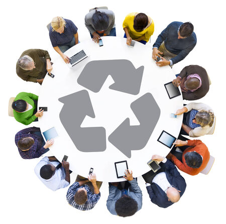 Diverse People Using Digital Devices with Recycling Symbol photo