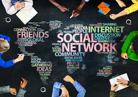 Group of People Blackboard Social Network Concept