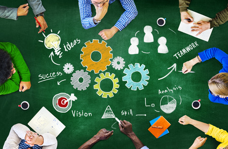 united: Teamwork Business Team Meeting Unity Gears Working Concept Stock Photo