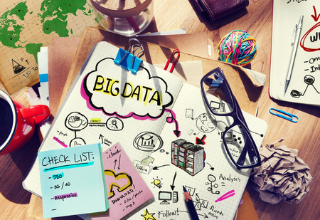 messy desk: Messy Desk with Big Data Related Notes