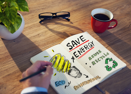 human energy: Businessman with Energy and Environmental Concept Stock Photo