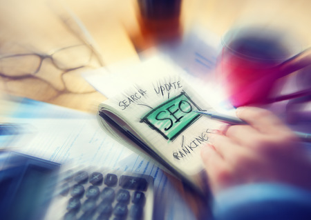 Office Writing Search Update Ranking SEO Concept photo