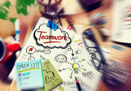 Teamwork Share Think Connect Follow Concepts photo