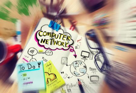 rete di computer: Pianificazione del Network Computer Archivio Fotografico
