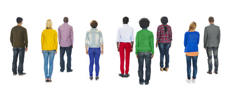 rear view: Multiethnic Group of People Standing Rear View