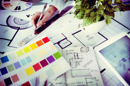 blue print: Designer Working on a New Project