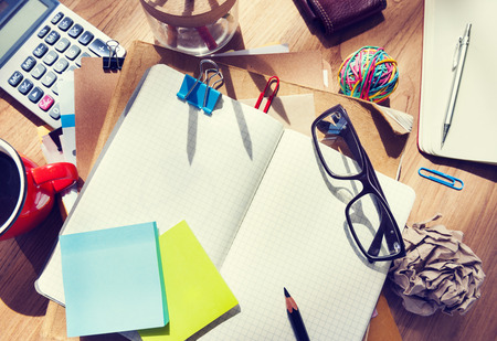 architectural studies: Designers Desk with Architectural Tools and Notebook Stock Photo