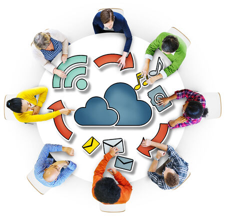 community cloud: Aerial View of People and Cloud Computing Concepts