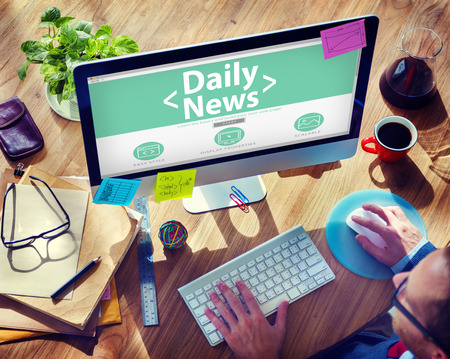news update: Digital Online Daily News Update Office Working Concept Stock Photo