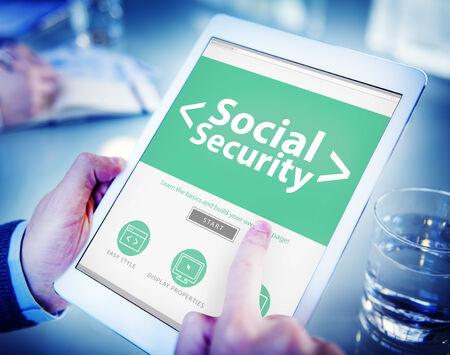 Protección Digital Línea de Seguridad Social Oficina Concepto Foto de archivo - 34405618