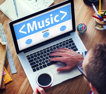 Digital Online Music Arts Office Working Concept photo