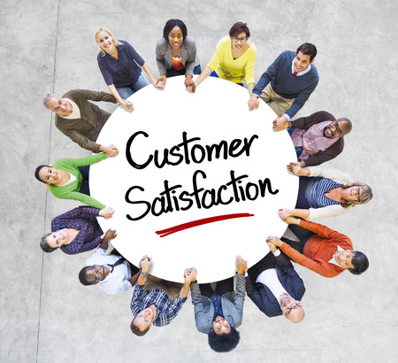 social networking service: Diverse People in a Circle with Customer Satisfaction Concept