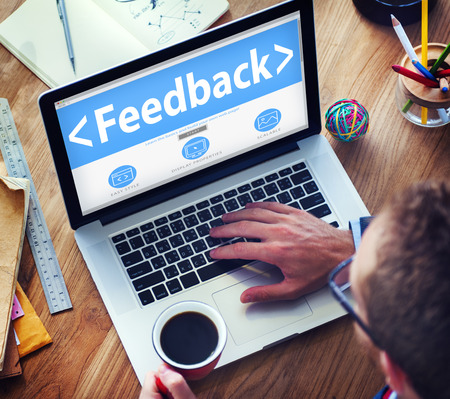 evaluating: Feedback Satisfaction Information Business Office Working Concept Stock Photo