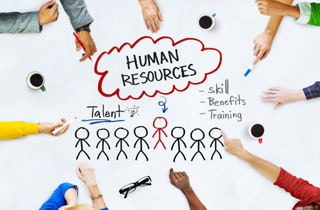 Hands on Whiteboard with Human Resources Concepts Stok Fotoğraf - 34405400