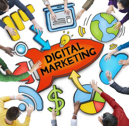 digital marketing: Group of Diverse People Discussing Digital Marketing