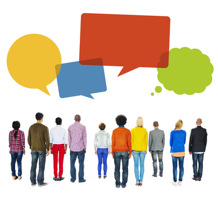 turn back: Multiethnic Group of People Turn Back with Speech Bubbles Stock Photo