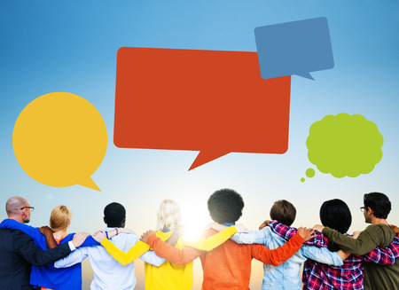 Group of People Backwards with Speech Bubbles Stock Photo