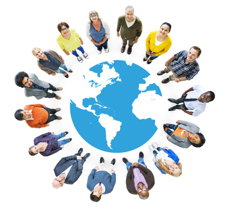 global communication: Group of Multiethnic People Looking Up Stock Photo