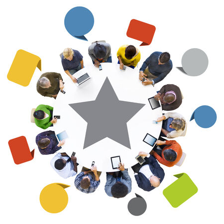 successfulness: Multiethnic Group of People Using Digital Devices for Successfulness
