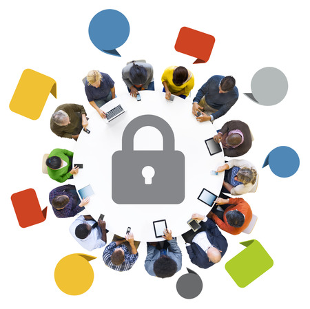 Group of People with Network Security Concept photo