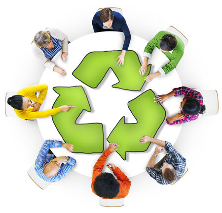 recycling symbol: Multiethnic Group of People with Recycling Symbol