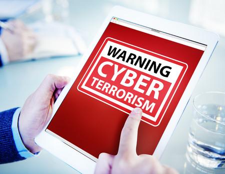 cyber terrorism: Hands Holding Digital Tablet Cyber Terrorism