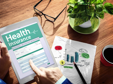 insurance policy: Digital Health Insurance Application Concept Stock Photo