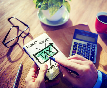 exemption: Businessman Tax Economy Refund Money Concept