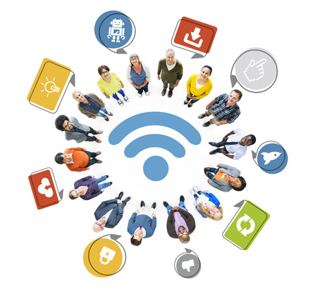 wireless technology: Multi-Ethnic Group of People and Wireless Technology Concept Stock Photo