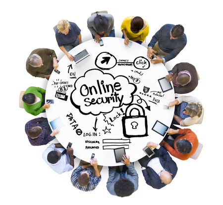 online security: Multiethnic Group of People with Online Security Concept