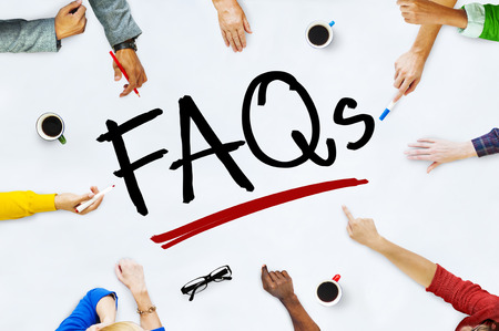 faqs: People Working and FAQs Concept Stock Photo