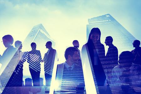 expert: Business People Silhouette Transparent Building Concept